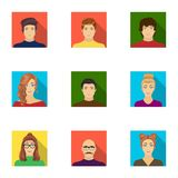 Appearance of the girl in glasses, a guy with a hairdo, a bald man with a beard and other varieties of face. Faces and Royalty Free Stock Photo