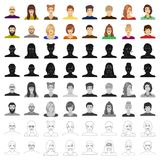 Appearance of the girl in glasses, a guy with a hairdo, a bald man with a beard and other varieties of face. Faces and. Appearance set collection icons in royalty free illustration
