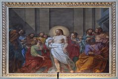 Appearance of Jesus to the disciples. Fresco in the basilica of Saint Andrew in Mantua, Italy Stock Photos