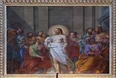 Appearance of Jesus to the disciples. Fresco in the basilica of Saint Andrew in Mantua, Italy Stock Image