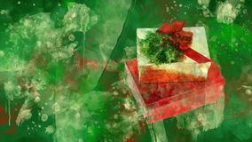 Watercolour Christmas decoration gift boxes on the background of coloured blots.