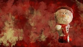 Watercolour Christmas decoration - snowman on the background of coloured blots.