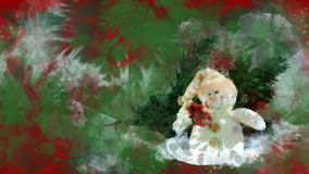 Watercolour Christmas decoration snowman, fir on the background of coloured blots.