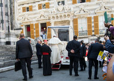 The appearance of Pope Francis official representative of the Roman Catholic Church. 27.05.2017 The appearance of Pope Francis in the city of Genoa, Italy, in stock image