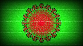 The appearance of a red-green round virus with interference against a lime color background