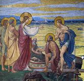 Appearance to the Apostles by the Lake Tiberias. Mosaic in the Basilica of the Sacred Heart of Jesus in Paris, France royalty free stock photos