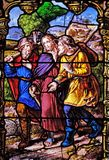 Appearance to the two disciples on their way to Emmaus. Stained glass windows in the Saint Gervais and Saint Protais Church, Paris, France stock photos