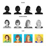 The appearance of a woman with a hairdo, the face of a girl. Face and appearance set collection icons in black, flat. Monochrome style vector symbol stock vector illustration
