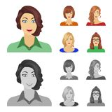 The appearance of a woman with a hairdo, the face of a girl. Face and appearance set collection icons in cartoon. Monochrome style vector symbol stock stock illustration