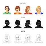 The appearance of a woman with a hairdo, the face of a girl. Face and appearance set collection icons in cartoon,black. Outline style vector symbol stock royalty free illustration