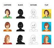 The appearance of a woman with a hairdo, the face of a girl. Face and appearance set collection icons in cartoon,black. Outline,flat style vector symbol stock vector illustration