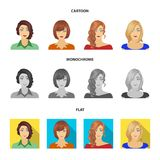 The appearance of a woman with a hairdo, the face of a girl. Face and appearance set collection icons in cartoon,flat. Monochrome style vector symbol stock vector illustration