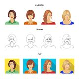 The appearance of a woman with a hairdo, the face of a girl. Face and appearance set collection icons in cartoon,outline. Flat style vector symbol stock royalty free illustration