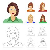 The appearance of a woman with a hairdo, the face of a girl. Face and appearance set collection icons in cartoon,outline. Style vector symbol stock illustration vector illustration