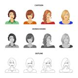 The appearance of a woman with a hairdo, the face of a girl. Face and appearance set collection icons in cartoon,outline. Monochrome style vector symbol stock stock illustration