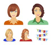 The appearance of a woman with a hairdo, the face of a girl. Face and appearance set collection icons in cartoon style. Vector symbol stock illustration royalty free illustration