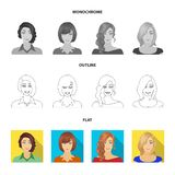 The appearance of a woman with a hairdo, the face of a girl. Face and appearance set collection icons in flat,outline. Monochrome style vector symbol stock royalty free illustration