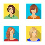 The appearance of a woman with a hairdo, the face of a girl. Face and appearance set collection icons in flat style. Vector symbol stock illustration royalty free illustration