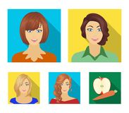 The appearance of a woman with a hairdo, the face of a girl. Face and appearance set collection icons in flat style. Vector symbol stock illustration stock illustration