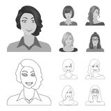 The appearance of a woman with a hairdo, the face of a girl. Face and appearance set collection icons in outline. Monochrome style vector symbol stock royalty free illustration