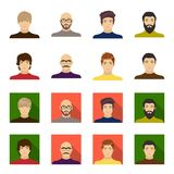 The appearance of the young guy, the face of a bald man with a mustache in his glasses. Face and appearance set. Collection icons in cartoon,flat style vector royalty free illustration