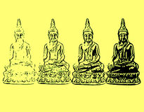 Appearing Buddha. Four silhouettes of Buddha, symbol, Buddhism, sitting figure, religion, sacred, statue in a temple, thai traditional texture, meditation Royalty Free Stock Photography