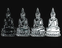 Appearing Buddha. Four silhouettes of Buddha, symbol out, Buddhism, sitting figure, religion, sacred, statue in a temple, thai traditional texture, meditation Stock Photography