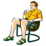 Appeasing the thirst. Man sitting in a lawn chair drinking an orange soda with ice Royalty Free Illustration