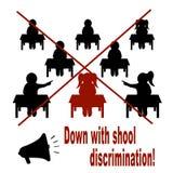 Appel contre la discrimination à l'école affiche illustration stock