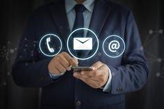 Appel Custo de CONTACTEZ-NOUS (les personnes de ligne directe de support à la clientèle SE RELIENT) images libres de droits
