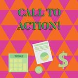 Appel d'écriture des textes d'écriture à l'action Concept signifiant la plupart de part importante de campagne de marketing numér illustration libre de droits
