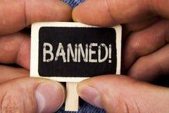 Appel de motivation interdit par apparence de note d'écriture L'interdiction de présentation de photo d'affaires de l'utilisation photos stock