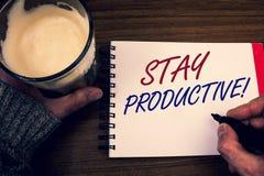 Appel de motivation productif de séjour des textes d'écriture de Word Le concept d'affaires pour la productivité de concentration images stock