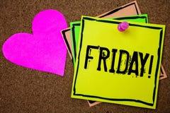 Appel de motivation de vendredi des textes d'écriture de Word Le concept d'affaires pour le jour passé du week-end de début de se Photo stock