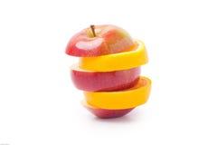 Appel die met sinaasappel wordt gemengd Stock Fotografie