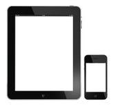 Appel iPad en iphone 4G die op wit wordt geïsoleerds Stock Afbeelding