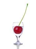 Appel/Kers in het Glas van de Wijn Stock Foto