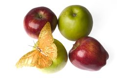 Appel met een vlinder royalty-vrije stock afbeeldingen