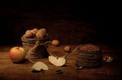 Appel, noten en boekweit Royalty-vrije Stock Afbeelding