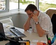 Appel parlant d'affaires/téléphone Photo libre de droits