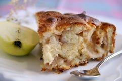 Appel-pastei stuk met de helft van groene appel Stock Foto