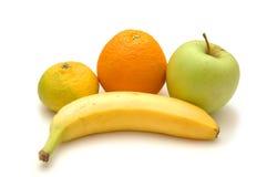 Appel, sinaasappel, banaan en zweempje royalty-vrije stock afbeelding