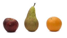 Appel, sinaasappel en peer stock afbeelding