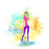 Appel téléphonique de téléphone portable de jeune femme au-dessus de peinture abstraite Image stock