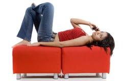 Appel téléphonique Relaxed Photo stock