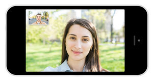 Appel téléphonique visuel de téléphone portable Photographie stock libre de droits