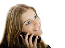 Appel téléphonique heureux Photo stock