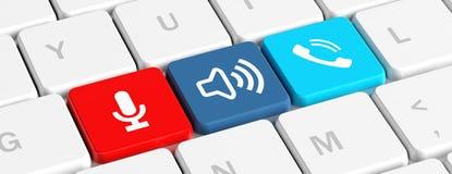 Appel USA Les boutons principaux avec le téléphone, le bruit et l'enregistreur se connecte un clavier d'ordinateur, bannière illu illustration de vecteur