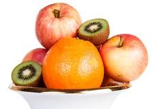 Appel van de fruit de oranje kiwi Stock Foto's