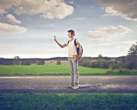 Appel visuel d'étudiant dans la campagne Photo stock